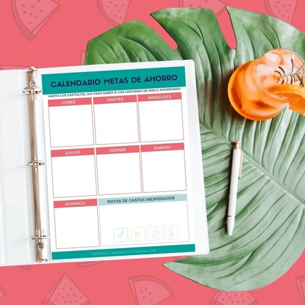 calendario  semanal metas de ahorro